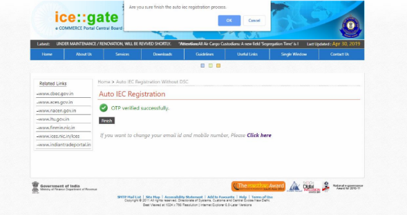 IEC Registration Process