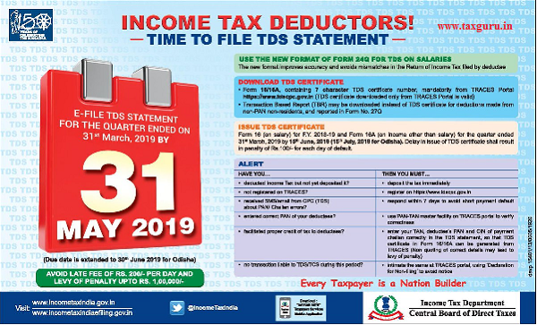 Income Tax Deductors Time To File Tds Statement Taxguru