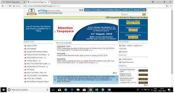 Income Tax E-Filing ( ITR-1)