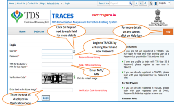 Login to TRACES -e-Tutorial Resend Activation Code