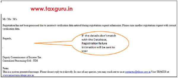 Non Completion of Registration – Rejection Message