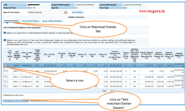 Online Correction Request Flow-Matched Challan –To update Section Code, Interest, Fees and Others