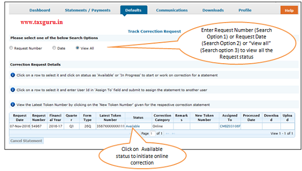 Online Correction Request Flow- View submitted request