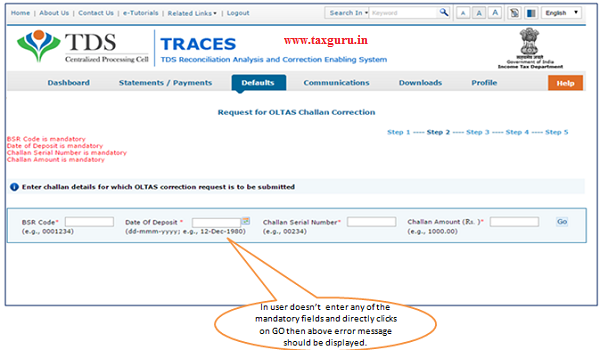 Possible Error message while entering Challan details