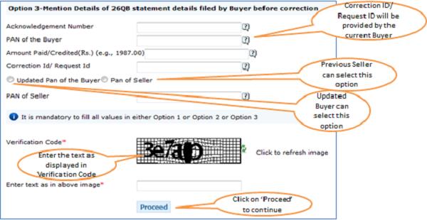 """Register as New User – Step 1 """"Option 3""""Validation Details"""