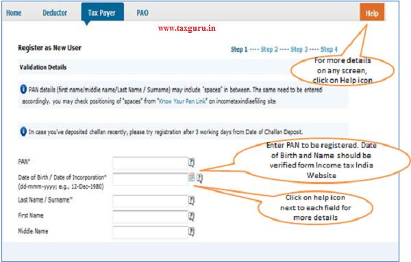 Register as New User – Step 1 Validation Details