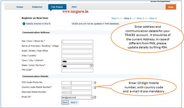 Register as New User – Step 2 Address & Communication Details