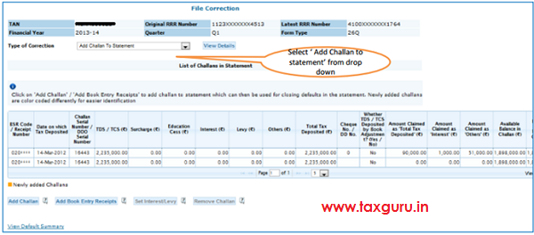Select Add Challan To Statement from the drop down
