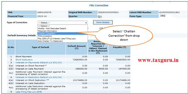 Select Challan correction