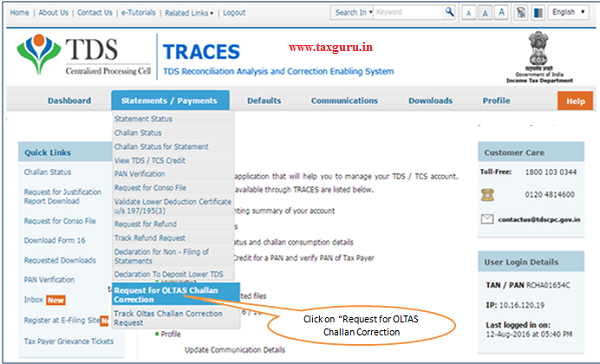 Select - Request for OLTAS Challan Correction