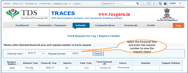 Select Track Request Option- To Track Request Status image 3