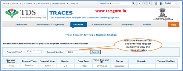 Select Track Request Option- To Track Request Status image2