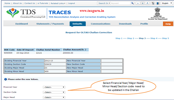 Select appropriate Financial Year Section Code Major Code Minor Code
