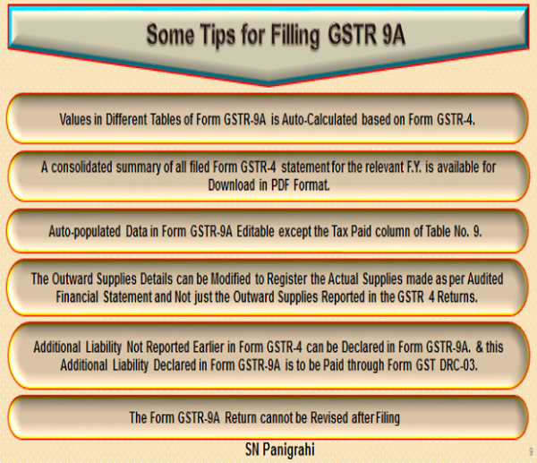 Some Tips for Filling GSTR 9A