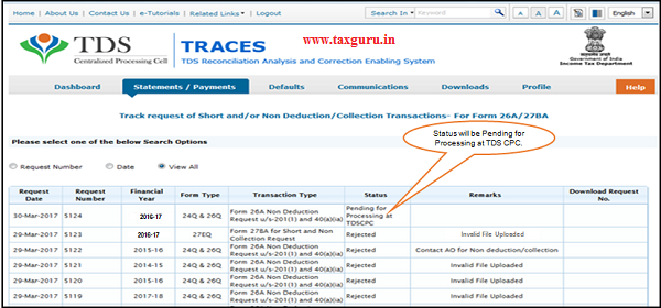 Status will be Pending for Processing at TDSCPC- Transaction received from E- Filing to TDSCPC for further Processing