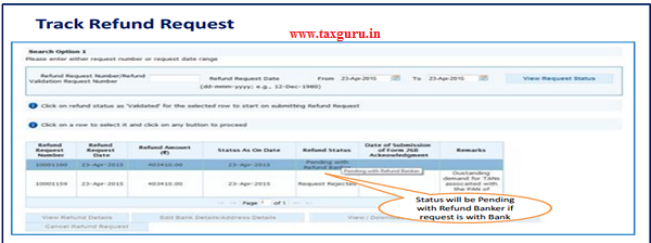 Status will be pending with Refund Banker