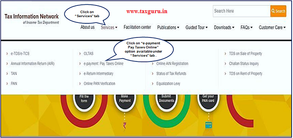 "Step 1 Click on "" e payment Pay Taxes Online"" available at home page and under ""Services"" tab"