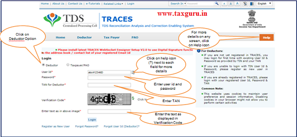 Step 1 Login to TRACES as a Deductor with registered User ID and Password
