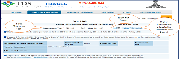 "Step 1 Select ""Assessment Year"" and ""Format – PDF"" for Downloading Form 26AS 2"