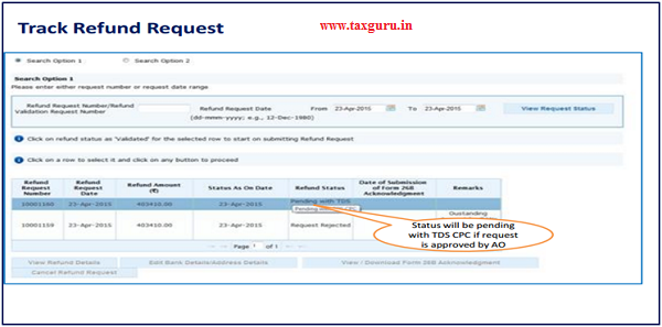 Step 11 (Contd) Status will be pending with TDSCPC if request is
