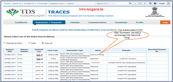 """Step 11 (Contd.) After """"Submitted"""" the status will changed into """"Sent to E-Filing""""."""