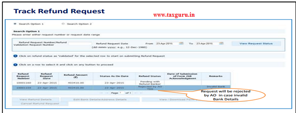 Step 11 (Contd.)Status will be rejected by AO or Refund Banker incase of Invalid Bank Details