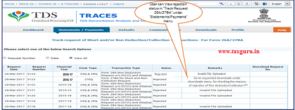 """Step 13 User can View rejection status in """"Track Request 26A 27BA"""" under """"Statements Payments"""" menu."""