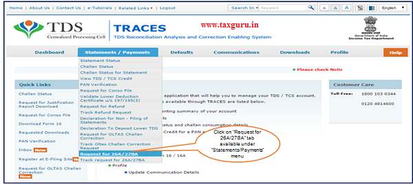 Step 2 Click on Request for 26A 27BA tab available under Statements Payments menu