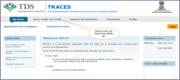 Step 2 Click on View Tax Credit (Form 26AS) tab
