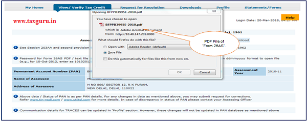 Step 2 PDF file of Form 26AS will be download
