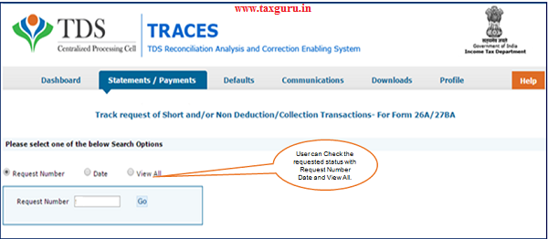 """Step 4(Contd.) User can check status of the request through """"Track request for 26A 27BA"""" under 'Statements Payments"""" menu"""