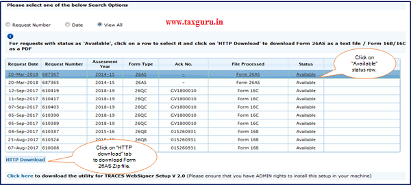 "Step 5 Click on ""Available"" status row then click on ""HTTP Download"" tab to download Form 26AS Zip file."