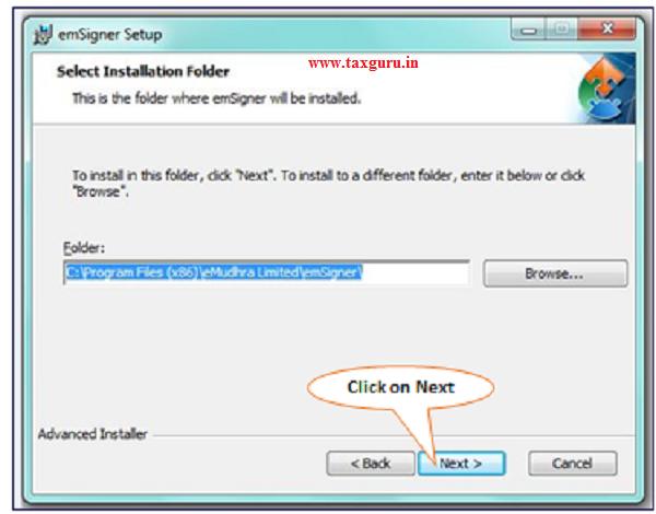 Step-5 (Contd.) Installation steps of TRACES Websocket Emsigner Setup.