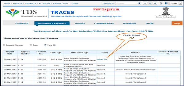 """Step 5 Status of the request will be """"Upload File"""" for uploading Non deduction Collection transactions"""