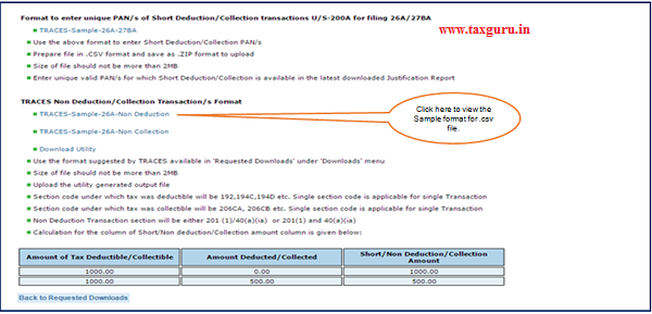 """Step 6 (Contd.) Click on """"TRACES –Sample -26A- Non Deduction Non Collection"""" to view the file format."""