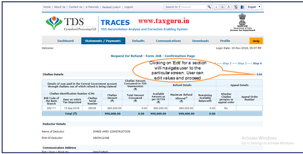 Step 7 Confirmation Page Click on Submit Refund Request to continue TDS refund request