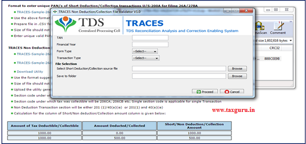 """Step 8 User need to """"Add Non-deduction collection transactions"""" in the file format suggested by TRACES and import that file in the utility."""