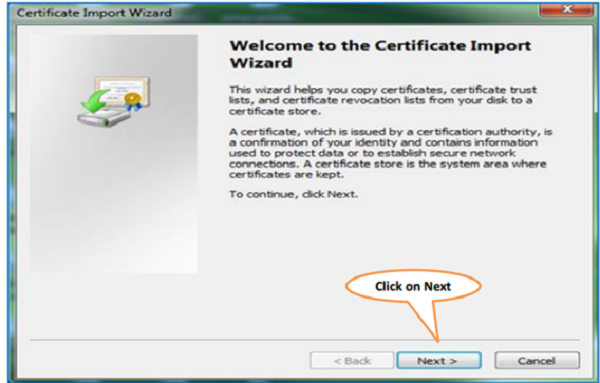Steps for Installation of Digital Signature Certificate (.PFX file) image 2