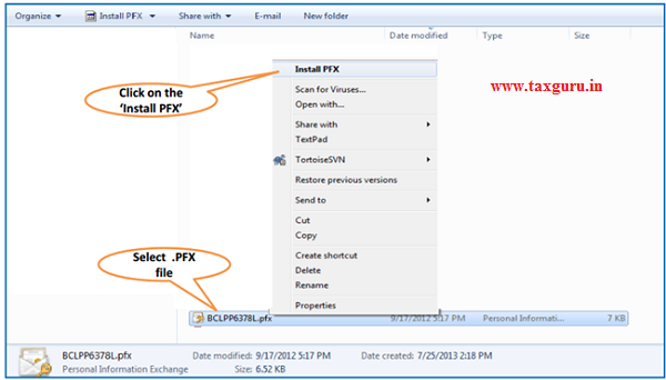 Steps for Installation of Digital Signature Certificate (.PFX file)