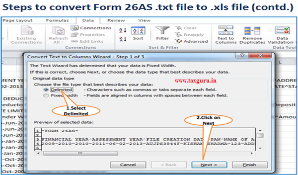 Steps to convert Form 26AS .txt file to .xls file (contd.) Image 3