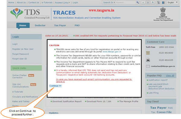 TRACES Home Page- Tax Payer Forgot Password