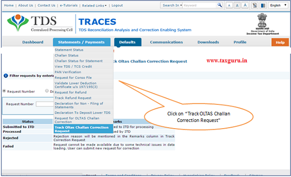 Track OLTAS Correction Request