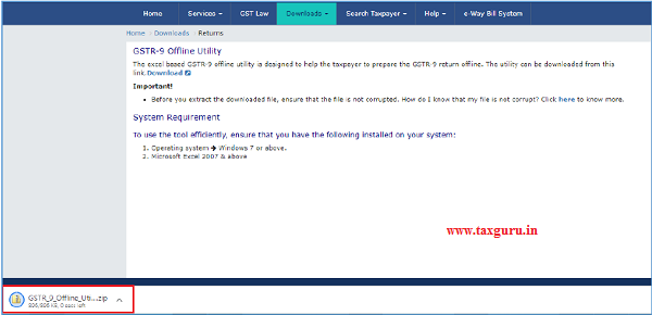 Zipped GSTR-9 Offline Utility folder gets downloaded.