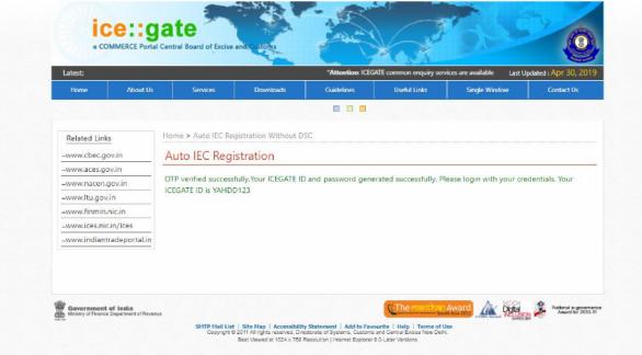 created ICEGATE ID 1