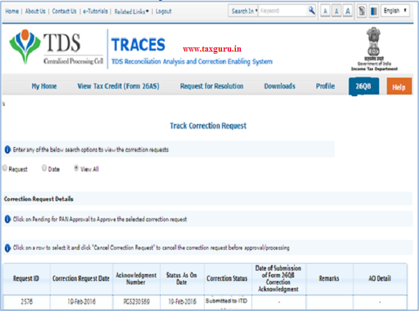 26QB Correction – Tracking correction request(Buyer has selected E-verification)