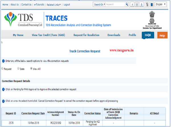 26QB Correction – Tracking correction request(Buyer has selected approval from AO)