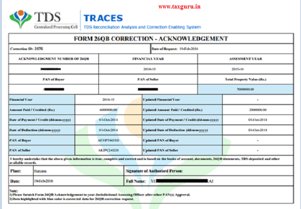 26QB Correction Acknowledgement It will be generated only if buyer opts for AO approval