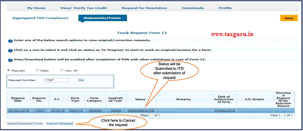 7. Pictorial guide of Track Request for Form 13- Non Resident