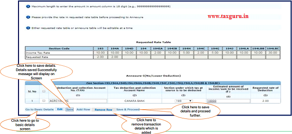 Click on 'Add Row' button to add transaction details in Annexure-I (No Lower Deduction).