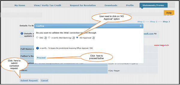 "Click on ""AO Approval"" option if user want to do 26QC Correction with ""AO Approval"